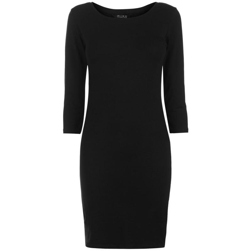 Šaty Miso Three Quarter Sleeve Bodycon Dress Ladies Black