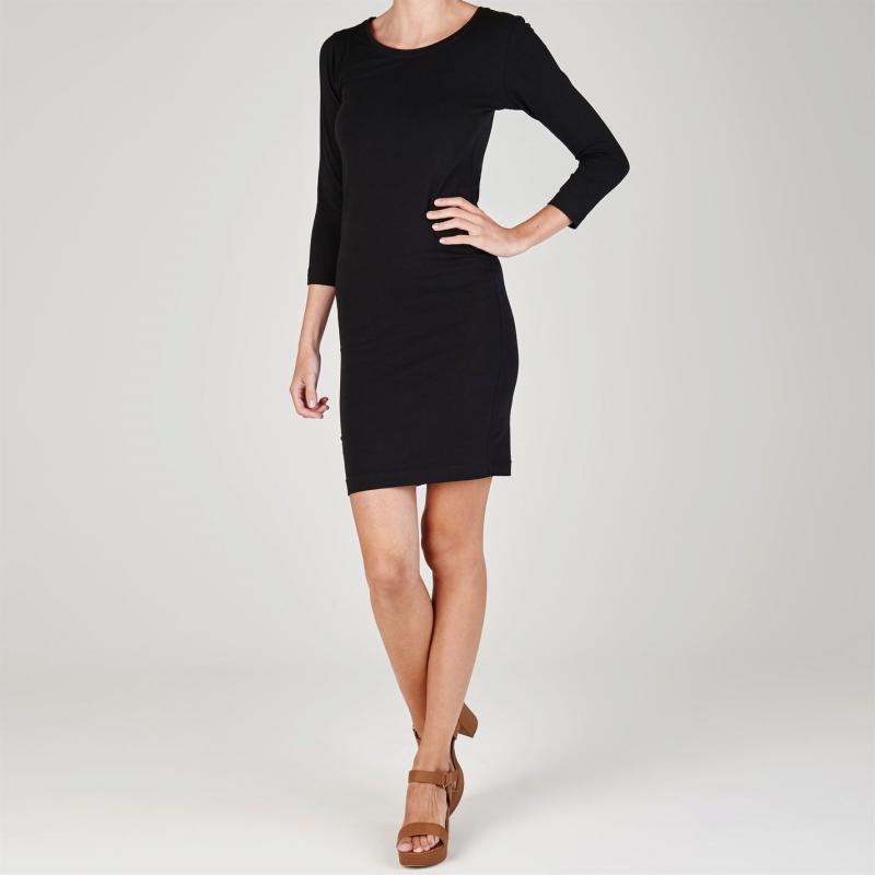 Šaty Miso Three Quarter Sleeve Bodycon Dress Ladies Black