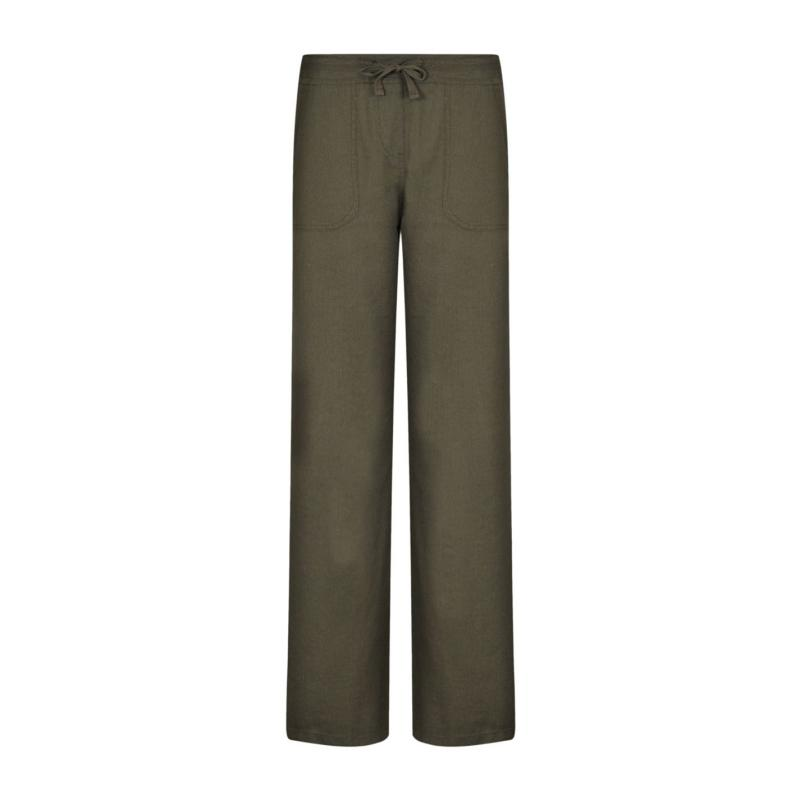 Full Circle Linen Mix Trousers Ladies Navy