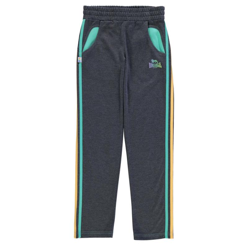 Lonsdale Open Hem Sweatpants Junior Girls Charcoal/Green