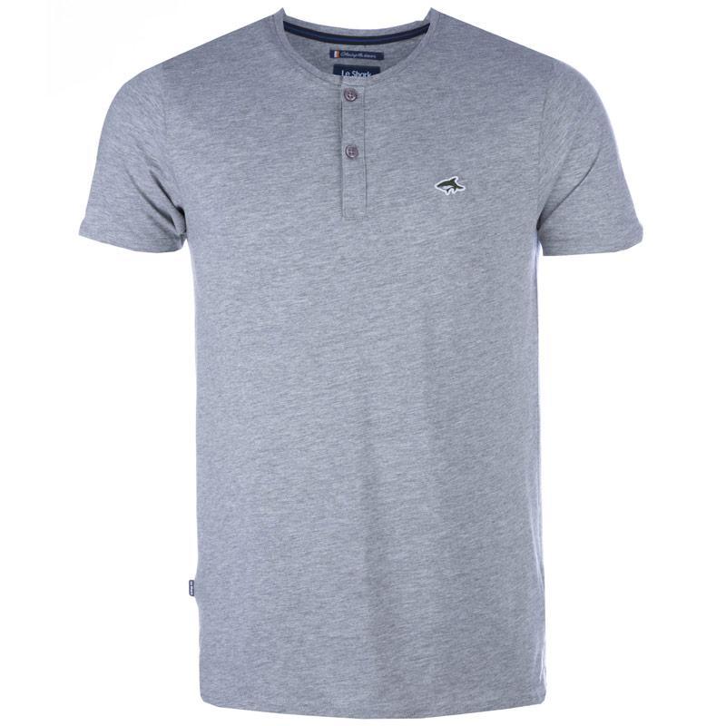 Tričko Le Shark Mens Glengall Button T-Shirt Grey Marl