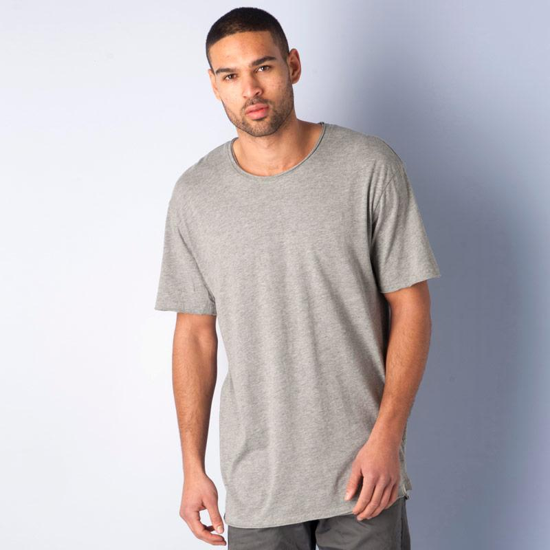 Tričko Jack Jones Mens Monday Long Line T-Shirt Grey