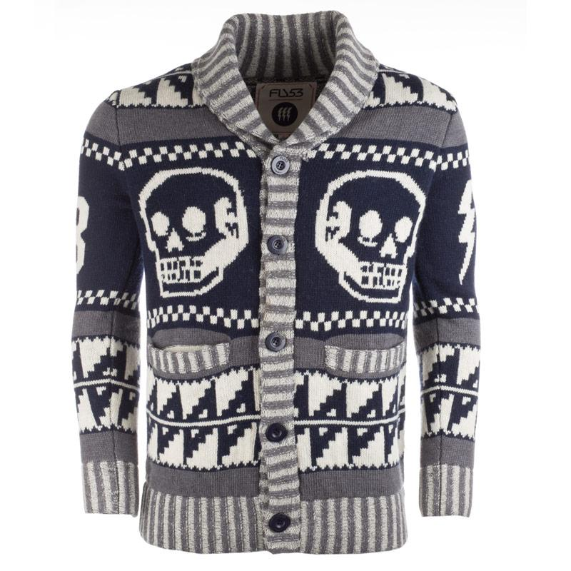 Mikina Fly53 Mens Skull Sweater nav wht gry
