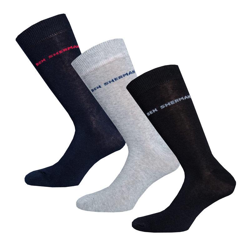 Ponožky Ben Sherman Mens 3 Pack Hedgehunter Socks Black