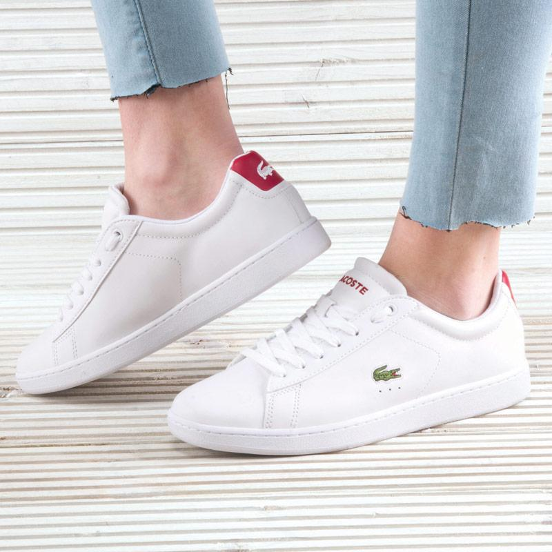 Lacoste Womens Carnaby EVO Trainers White red