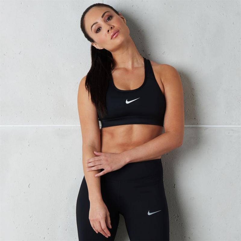 Nike Swoosh Medium-Support Sports Bra Ladies WHITE/BLACK/BLACK
