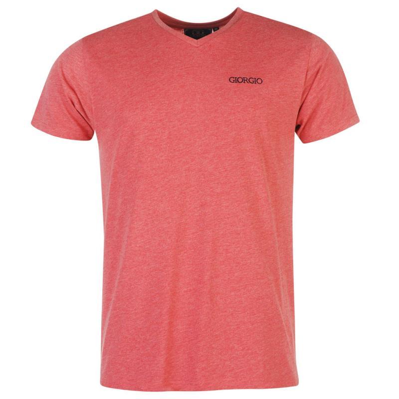 Tričko Giorgio Essential V Neck T Shirt Mens Red Marl