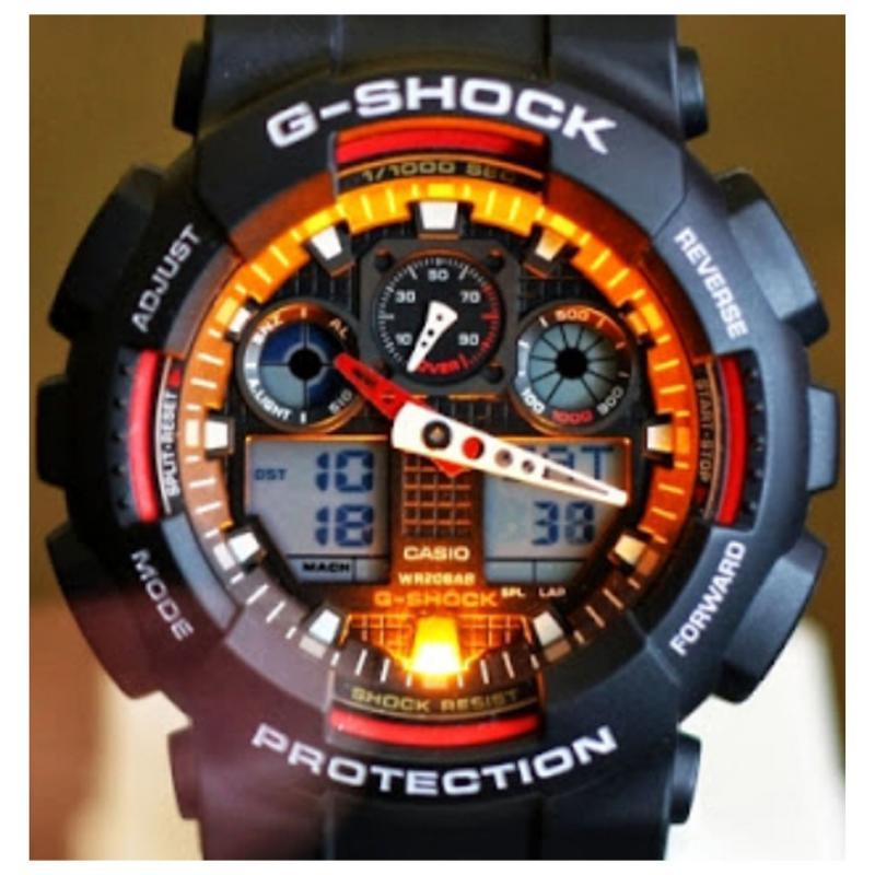 Casio Mens G Shock Alarm Chronograph Watch Black / Red