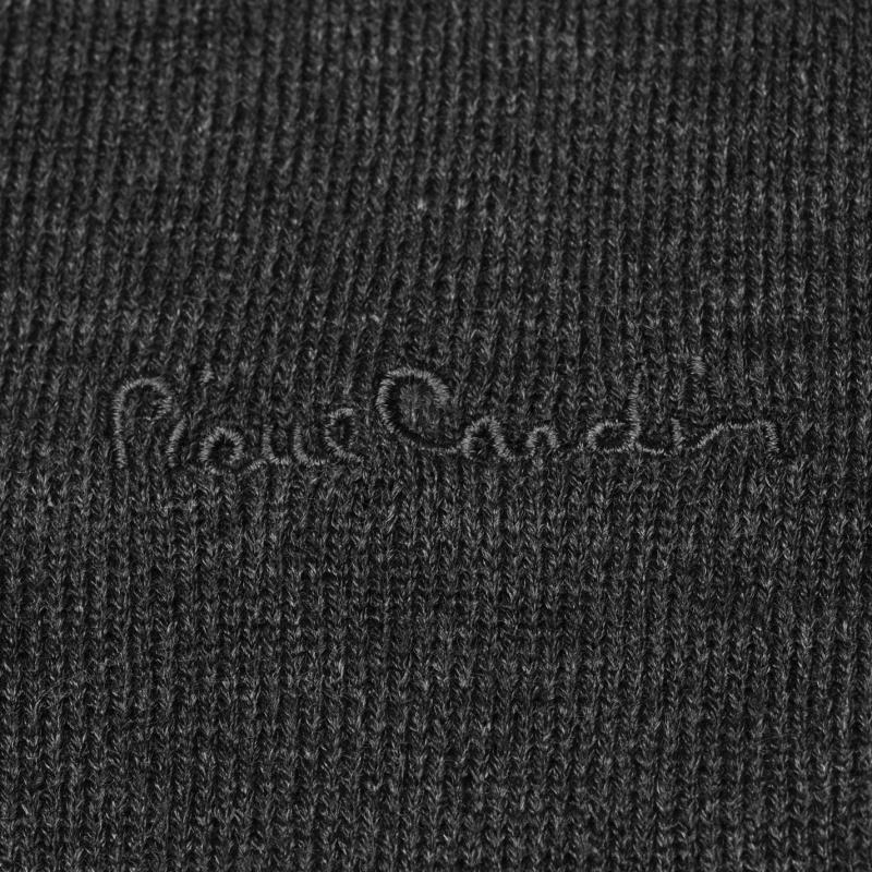 Pierre Cardin V Neck Knit Jumper Mens Charcoal Marl
