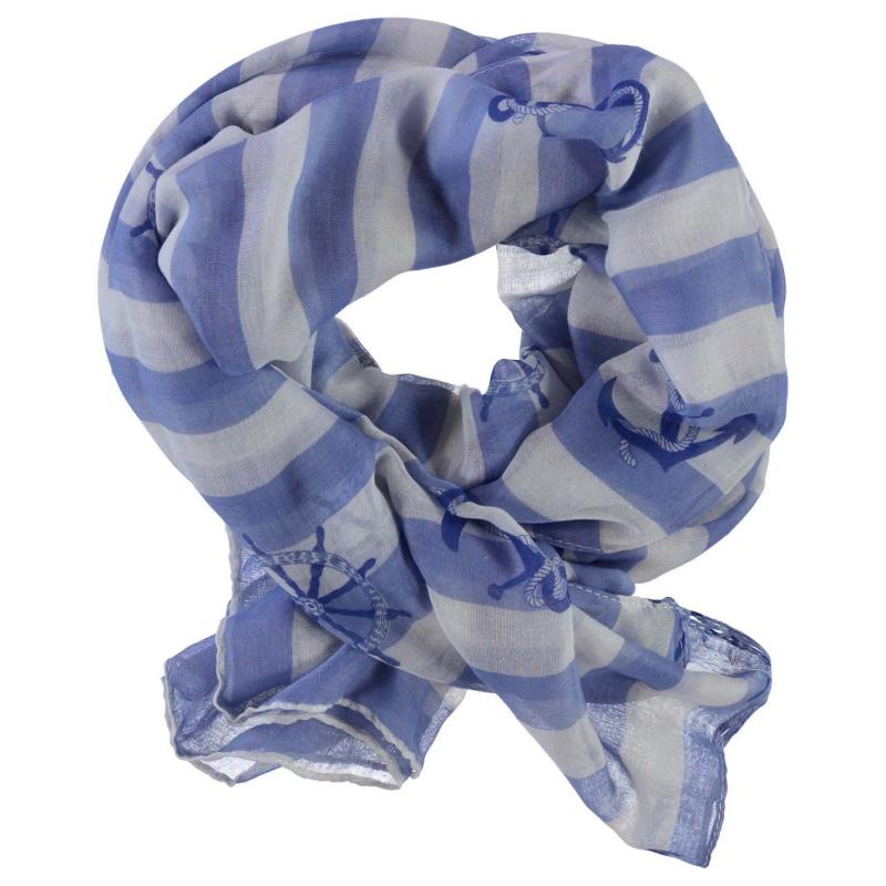 Full Circle Stripe Nautical Scarf Ladies Blue