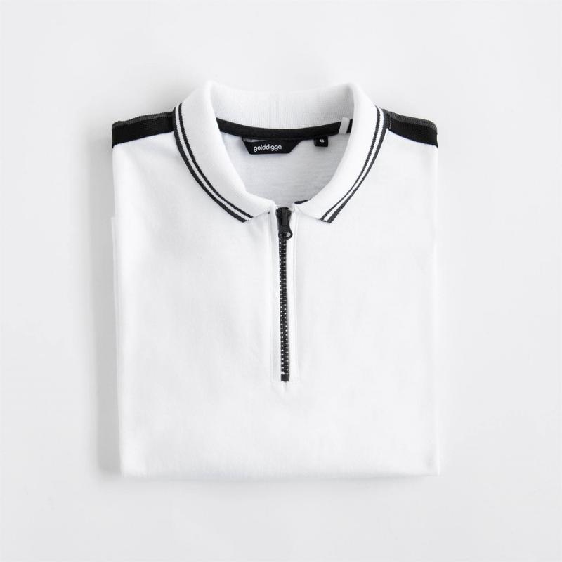Polokošile Golddigga Retro Zip Polo Ladies White/Black