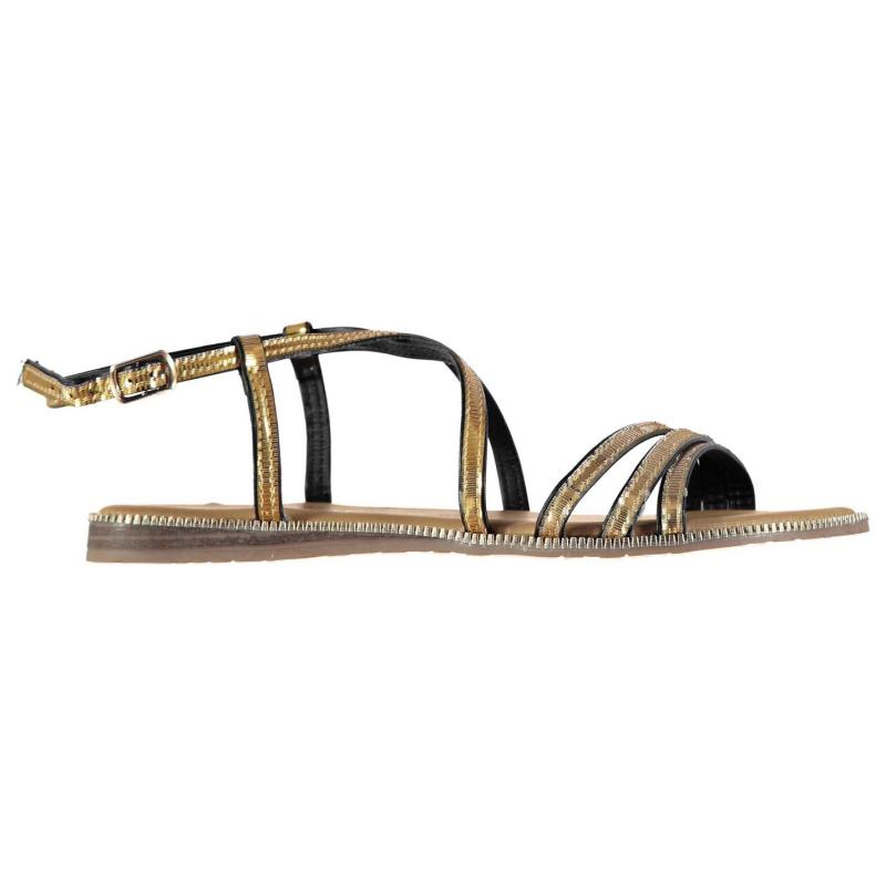 Boty Full Circle Gold Detail Ladies Sandals Black/Gold