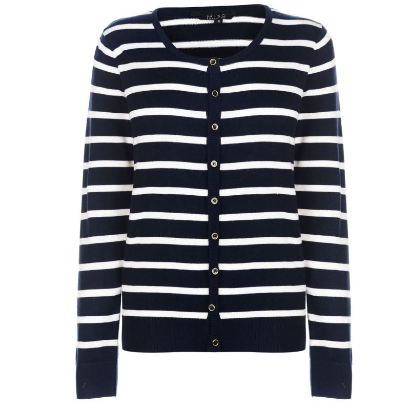 Svetr Miso Stripe Button Cardigan Ladies Navy