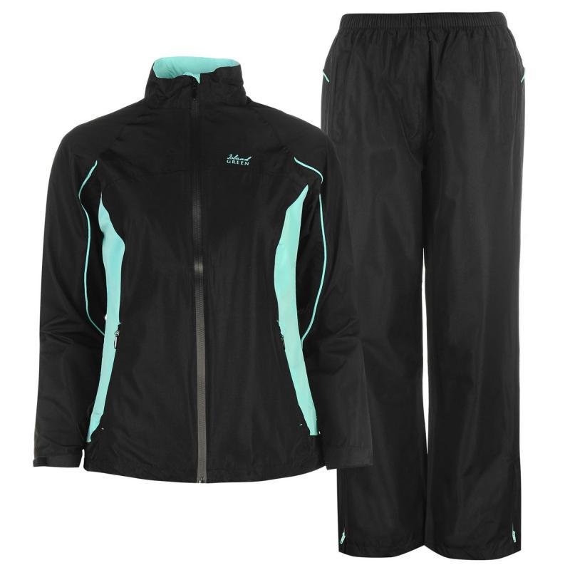 Island Green Waterproof Suit Ladies Black/Spearmint