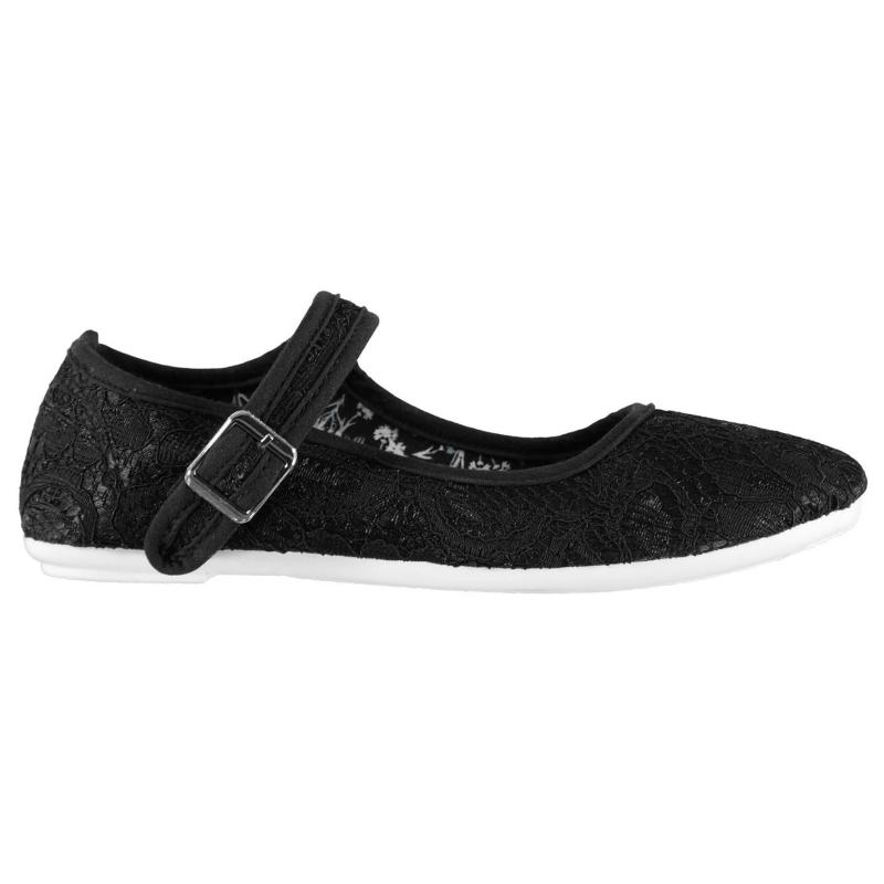 Slazenger Canvas Pumps Child Girls Black Broderie
