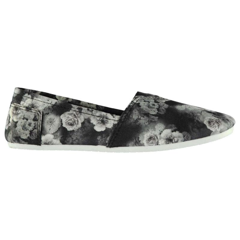 Obuv Miss Fiori Ladies Sams Canvas Shoes Black Floral
