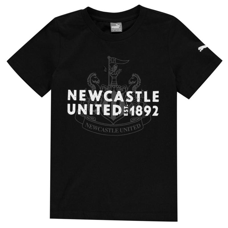 Puma Newcastle United Graphic T Shirt Junior Boys Black