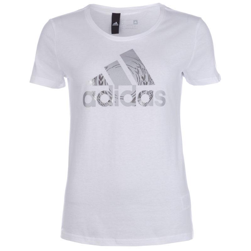 Adidas Performance Womens Foil Logo T-Shirt White