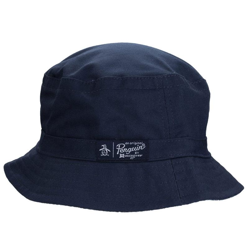 Original Penguin Mens Reversible Bucket Hat Blue