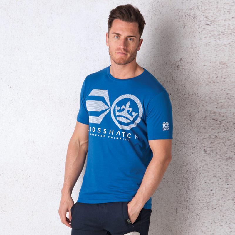 Tričko Crosshatch Mens Crossout Logo T-Shirt Blue