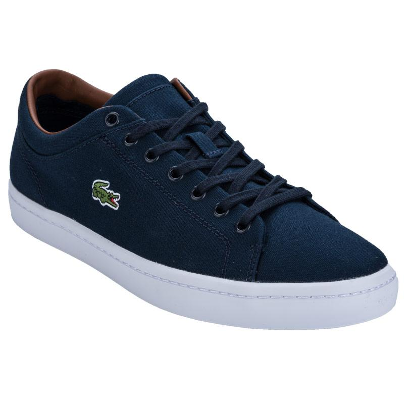 Lacoste Mens Straightset Canvas Trainers Dark Blue