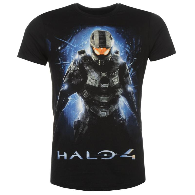 Tričko Character Halo Print T Shirt Mens Black Master