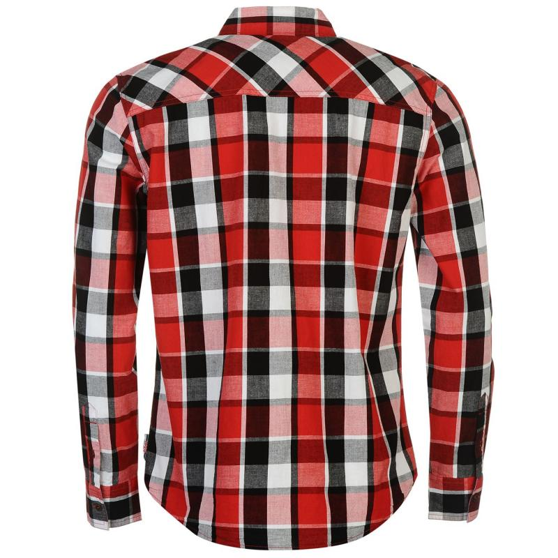 Lee Cooper Long Sleeve Check Shirt Mens Red/Black/White