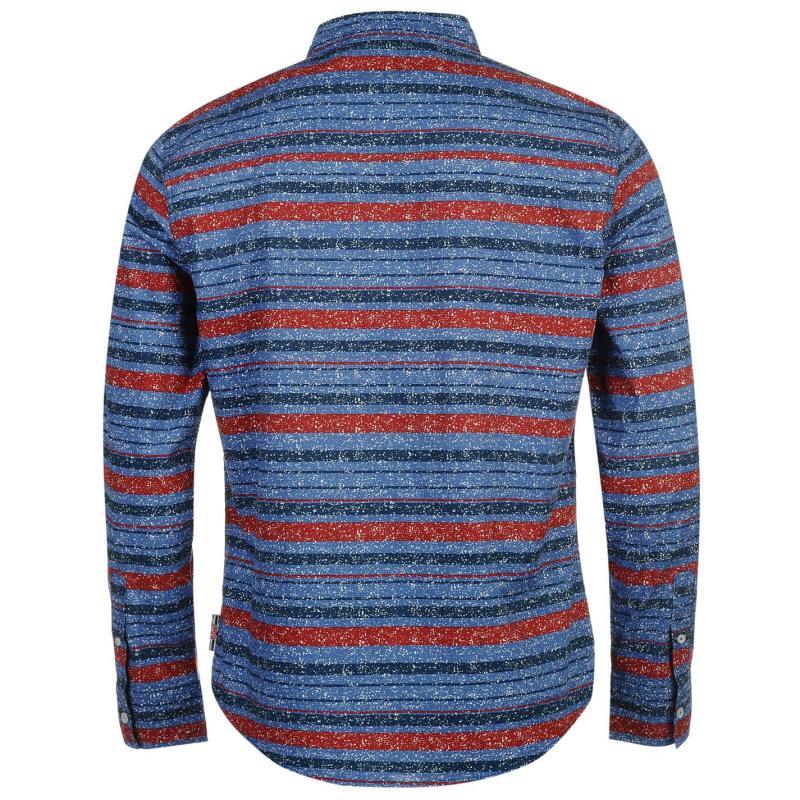 Lee Cooper Long Sleeve Textile AOP Shirt Mens Red/Blue AOP