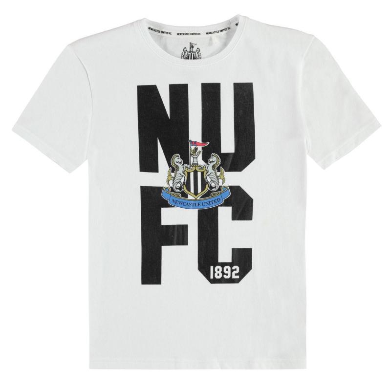 NUFC Newcastle United Crest T Shirt Junior Boys White