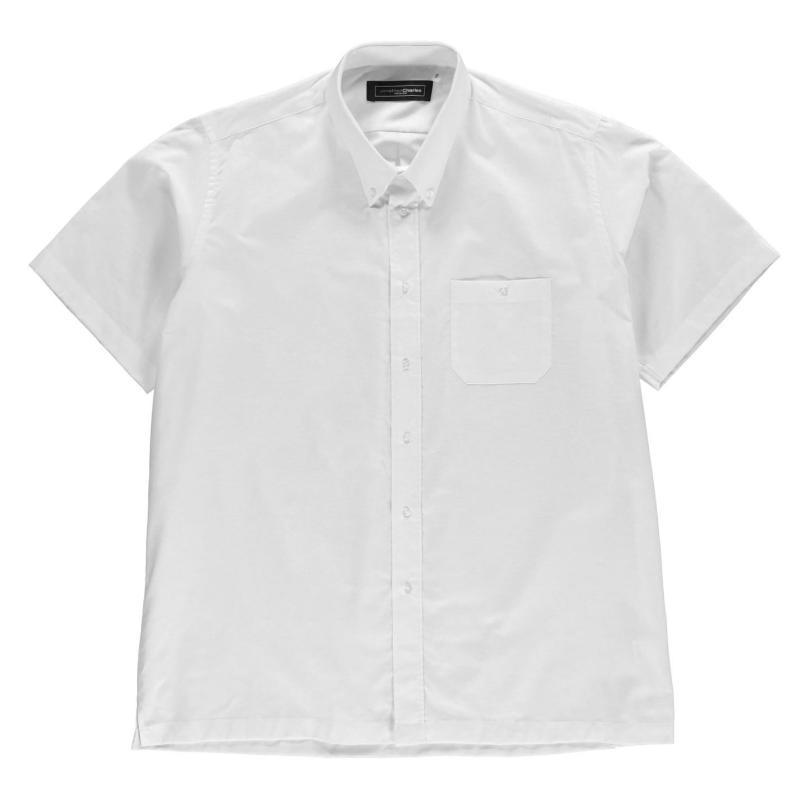 Jonathon Charles Short Sleeve Oxford Collar Shirt Mens Lemon