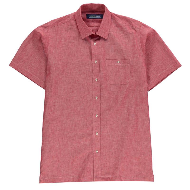 Jonathon Charles Short Sleeve Linen Mix Shirt Mens Coral/Rose
