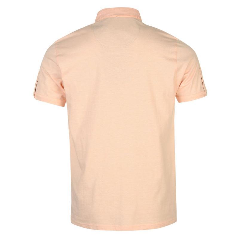 Pierre Cardin Fine Stripe Polo Shirt Mens Peach