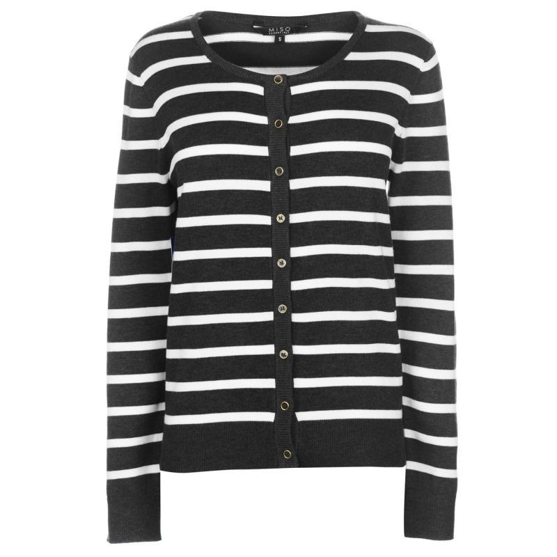 Svetr Miso Stripe Button Cardigan Ladies Dark Grey