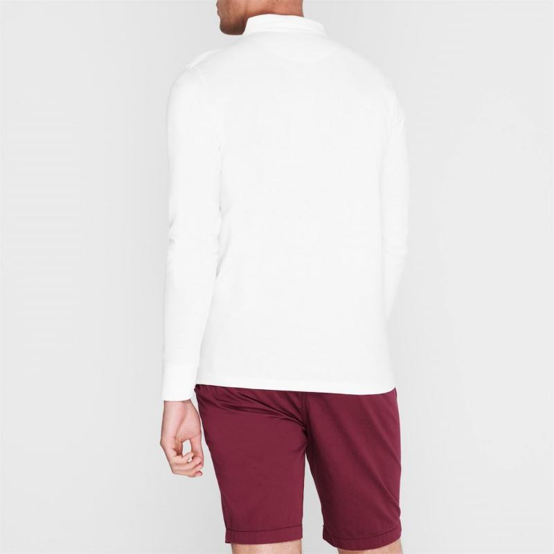 Pierre Cardin Plain Long Sleeve Polo Shirt Mens White