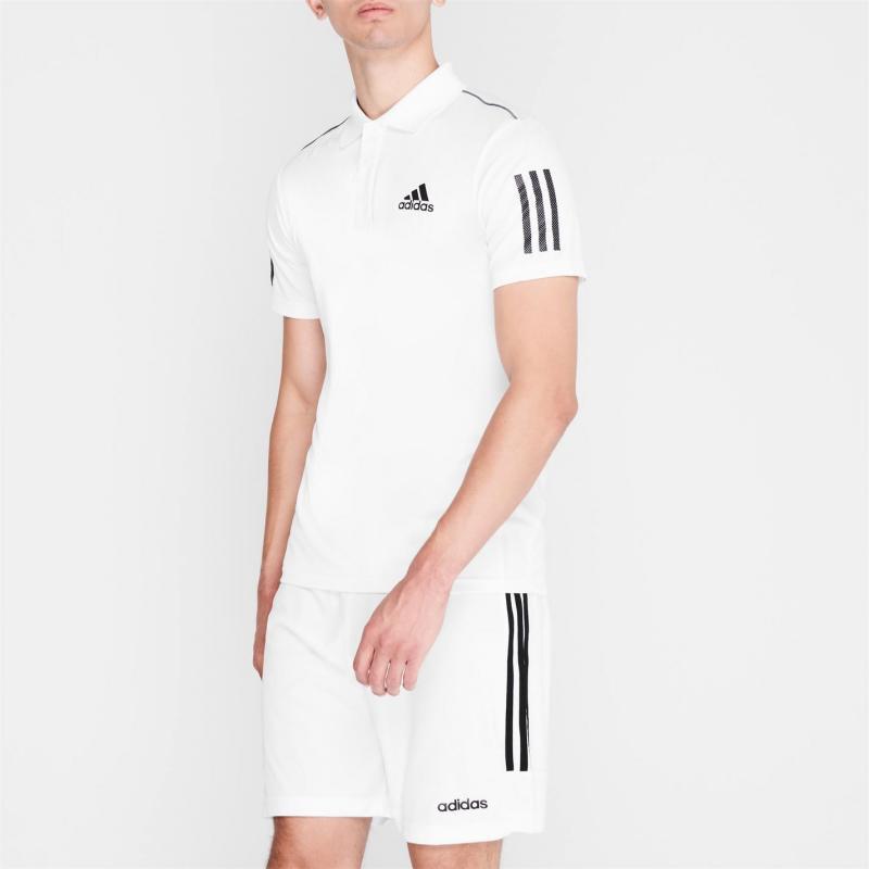 Adidas adidas Mens Tennis Club 3-Stripes Polo Shirt White/Black