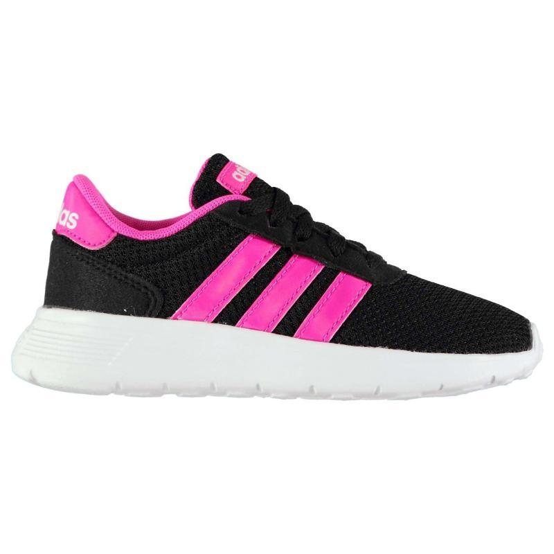 Adidas Lite Racer Child Girls Trainers Black/Pink
