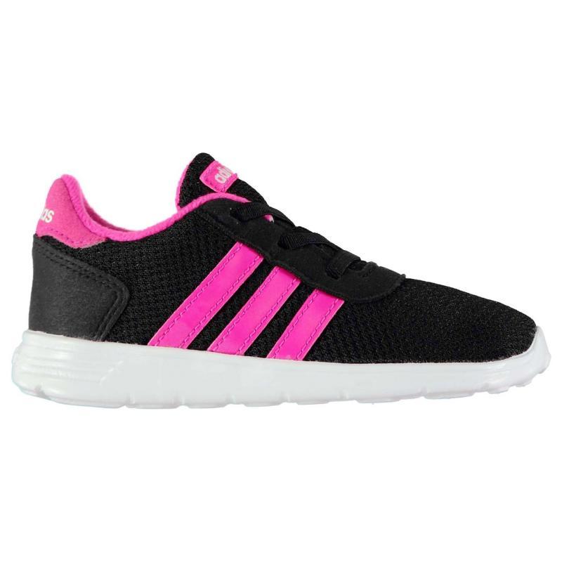 Adidas LiteRacer Trainers Infant Girls Black ShockPink 97dfcfabf33