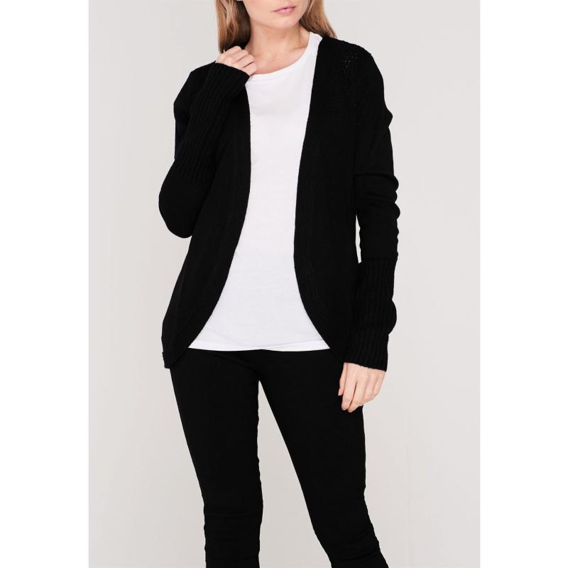 Svetr Miso Rib Knitted Cardigan Ladies Black