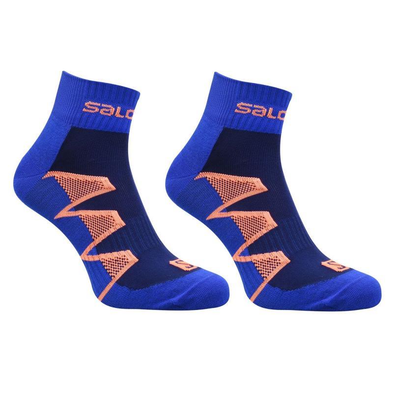 Salomon XA Pro Running 2 Pack Socks Mens Blue/Orange