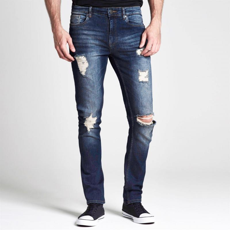 Firetrap Skinny Mens Jeans Mid Wash Rips