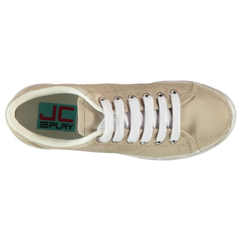 Jeffrey Campbell Play Canvas Wash Trainers Natural/White