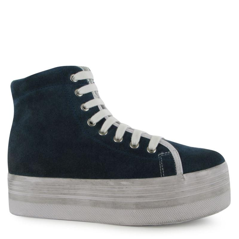 Jeffrey Campbell Homg Suede Wash Hi Tops Light Navy/Wht