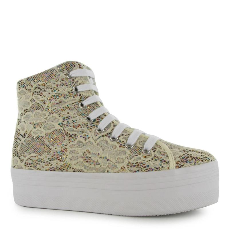 Jeffrey Campbell Play Homg Lace Platform Shoes Cream Glitter