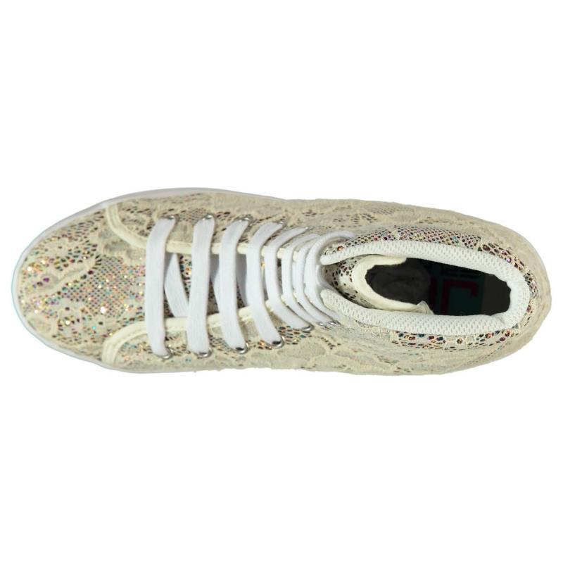 Jeffrey Campbell Play Homg Lace Platform Shoes Cream Glitter
