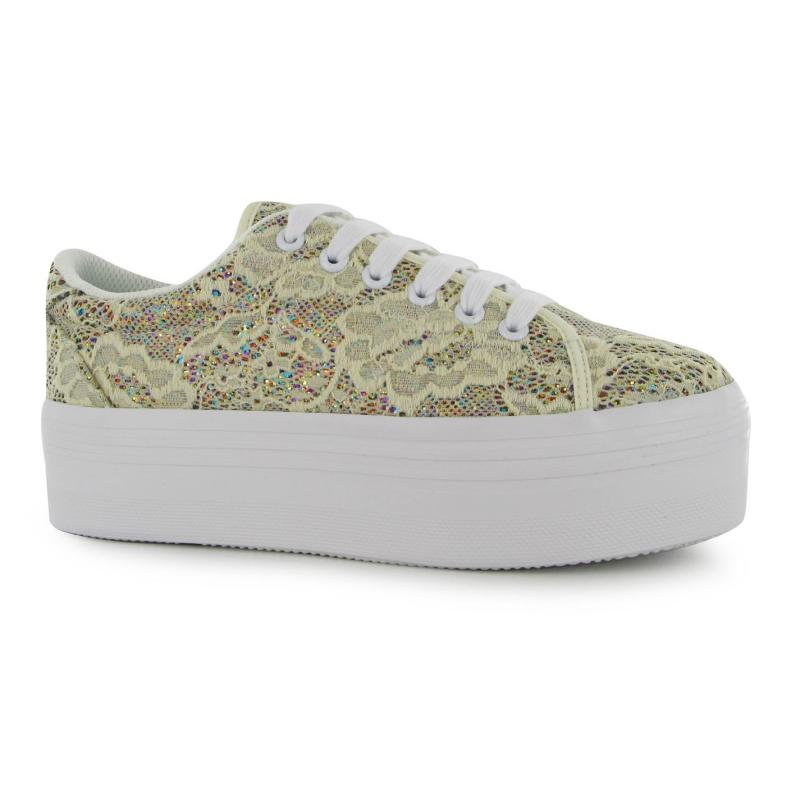 Obuv Jeffrey Campbell Play Zomg Lace Trainers Cream Glitter