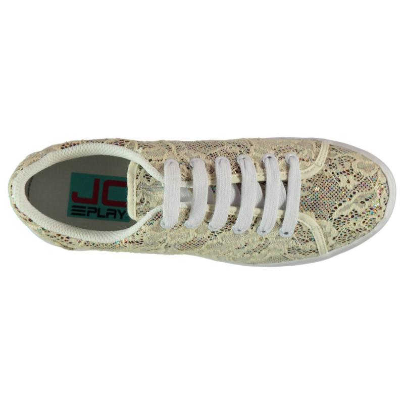 Jeffrey Campbell Play Zomg Lace Trainers Cream Glitter