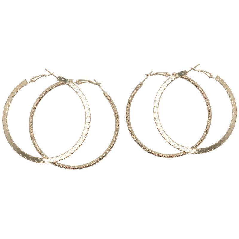 Miso Earrings Ladies Gold Hoop x2
