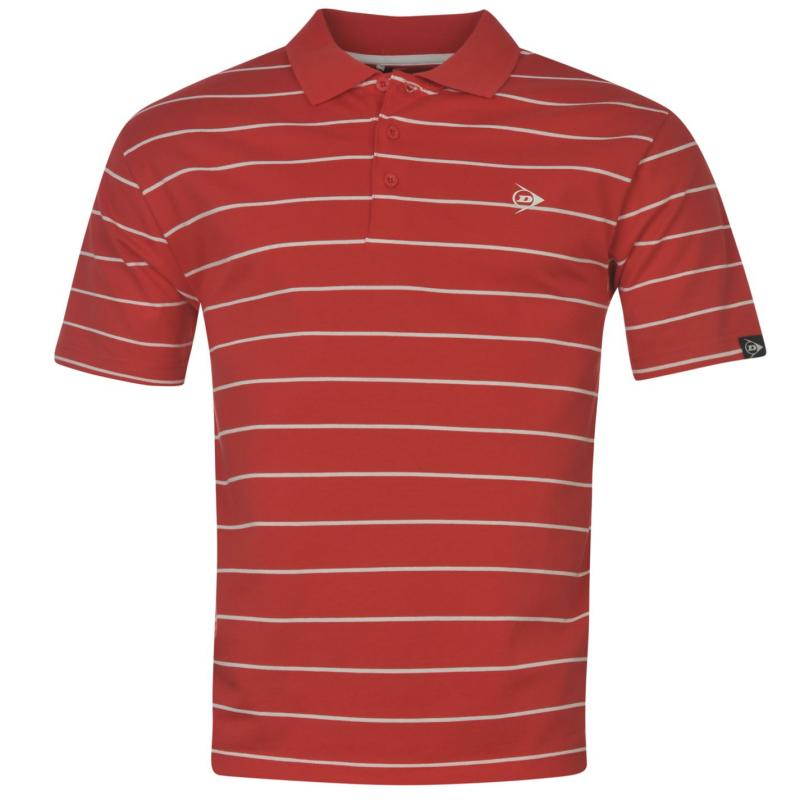 Dunlop Stripe Polo Mens Red/White