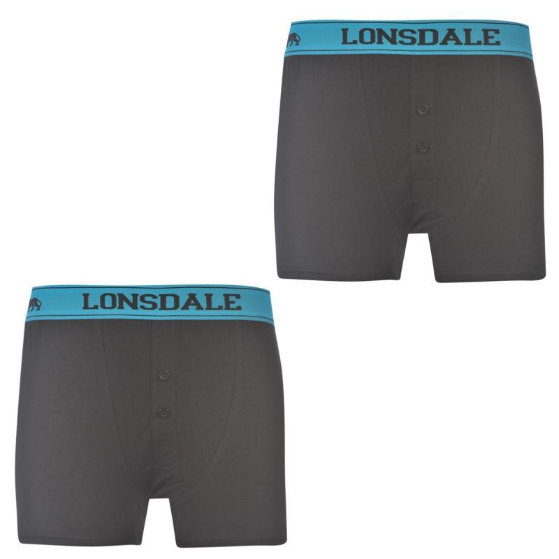 Spodní prádlo Lonsdale 2 Pack Boxers Junior Black/Brt Blue