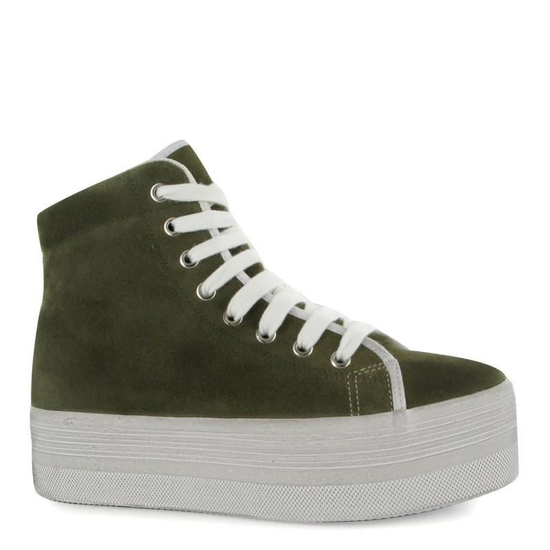 Jeffrey Campbell Homg Suede Wash Hi Tops Khaki/White